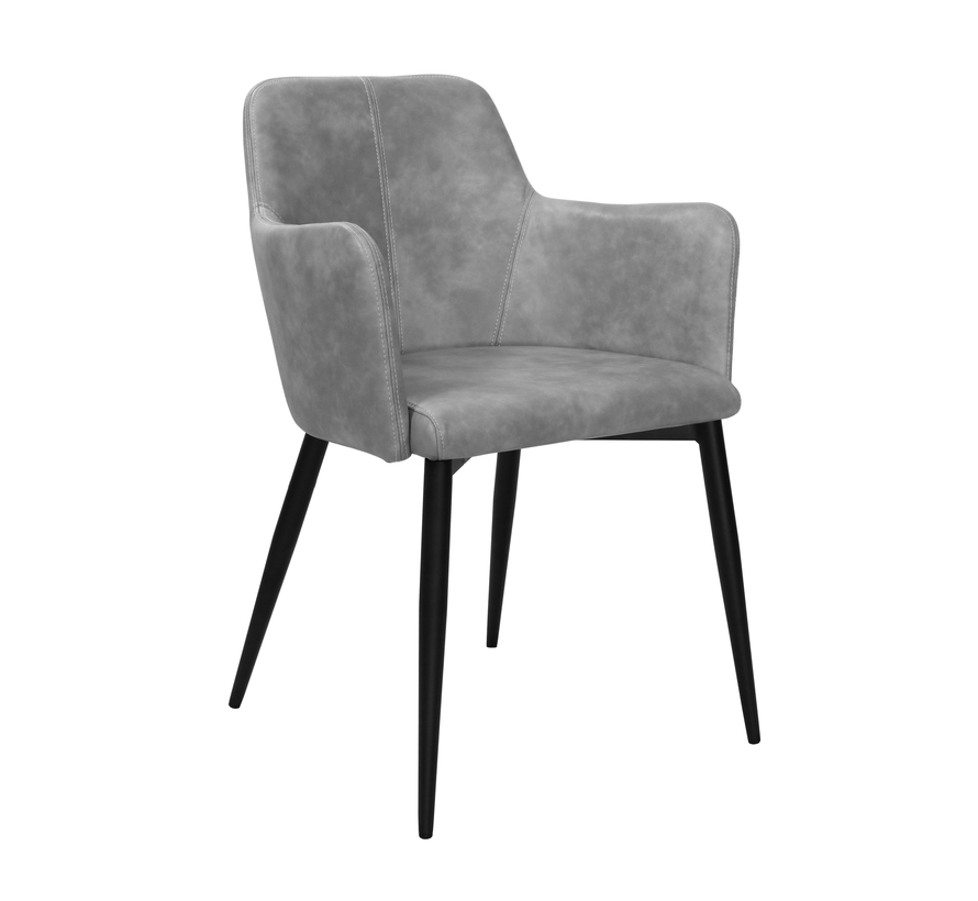 Dining room chair Tough Metal Frame Pu Leather - Gray