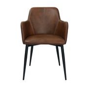 Kick Dining room chair Tough Metal Frame Pu Leather - Cognac