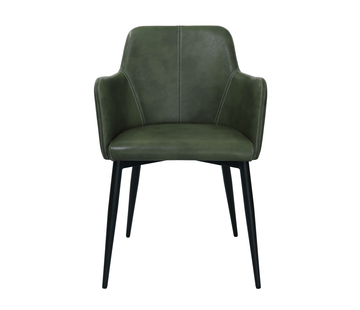 Kick Dining room chair Tough Metal Frame Pu Leather - Dark green