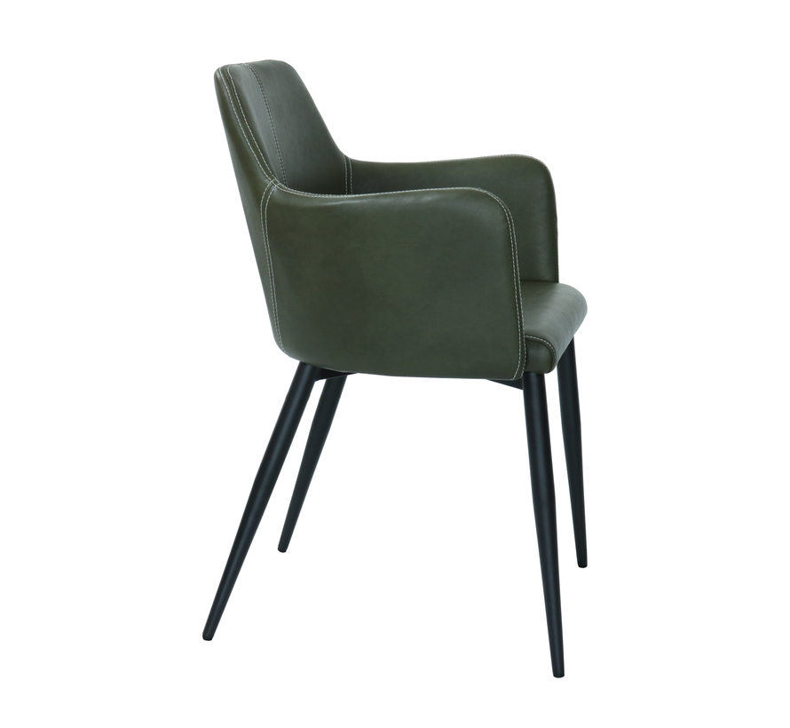 Dining room chair Tough Metal Frame Pu Leather - Dark green