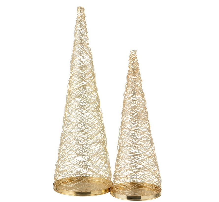 Decoration Cone Woven Steel Gold - Large