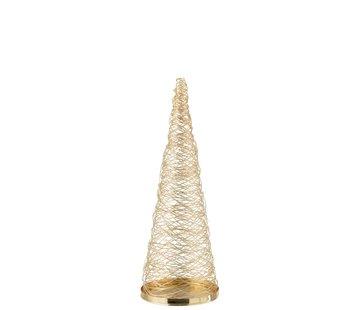 J -Line Decoratie Kegel Geweven Staal Goud - Small
