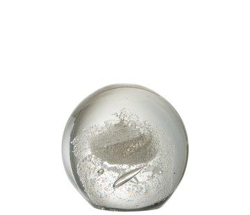 J -Line Papiergewicht Bol Glas Bubbels Zilver - Extra Large