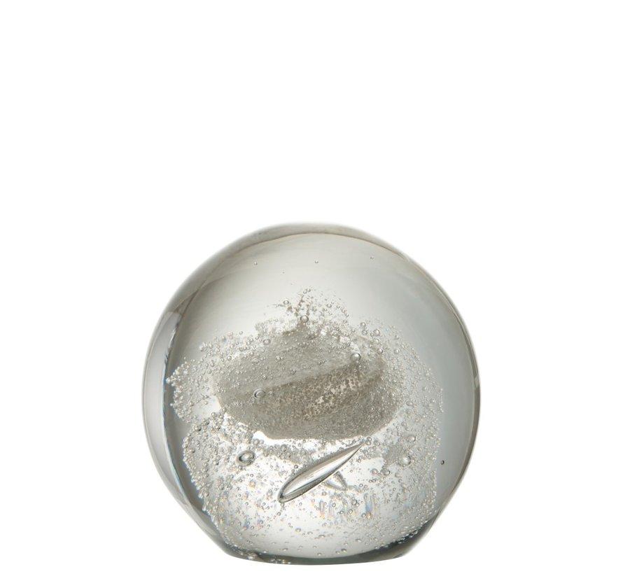 Papiergewicht Bol Glas Bubbels Zilver - Extra Large