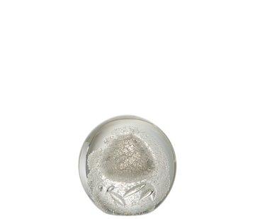 J -Line Papiergewicht Bol Glas Bubbels Zilver - Large