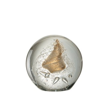 J -Line Paperweight Sphere Glass Bubbles Gold - Extra Large