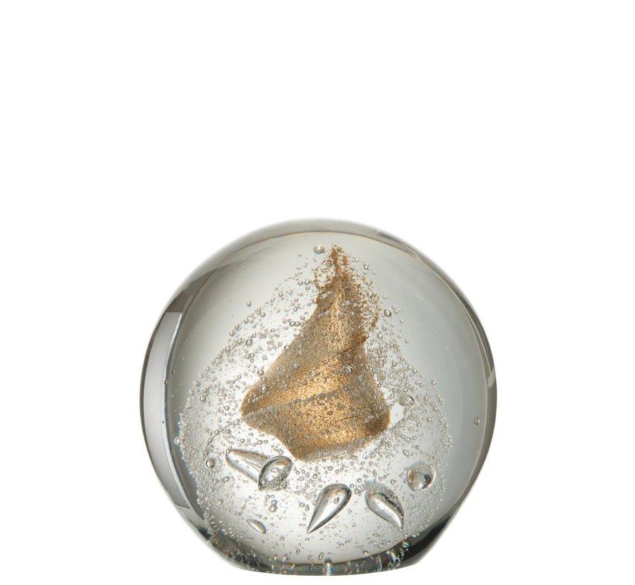 Papiergewicht Bol Glas Bubbels Goud - Extra Large