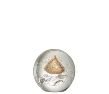 J-Line  Papiergewicht Bol Glas Bubbels Goud - Large