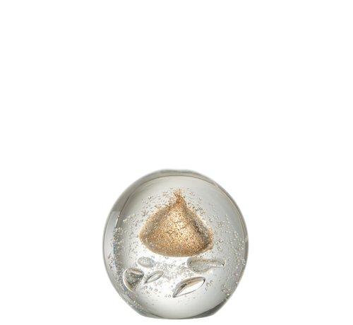 J -Line Paperweight Sphere Glass Bubbles Gold - Large
