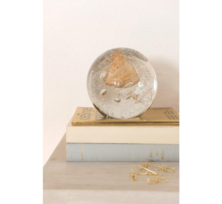 Papiergewicht Bol Glas Bubbels Goud - Large