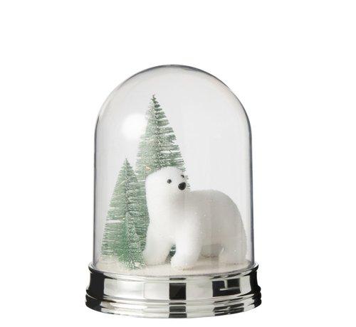 J -Line Decoration Bell Jar Polar Bear Pine Tree Led White - Large