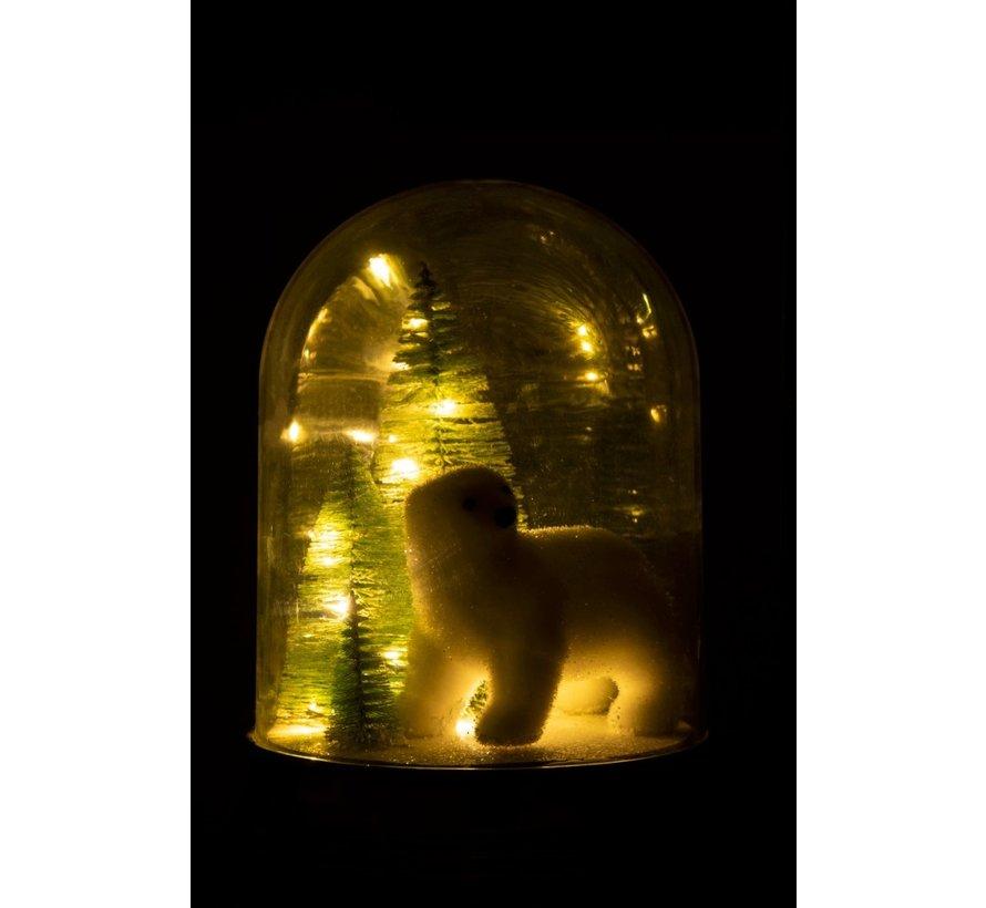 Decoration Bell Jar Polar Bear Pine Tree Led White - Large