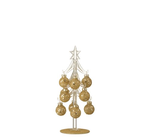 J -Line Decoration Tree Glass Balls Gold - Small