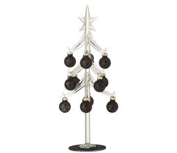 J-Line Decoratie Boom Glas Kerstballen Zwart - Large