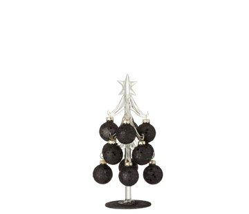 J-Line  Decoration Tree Glass Christmas Balls Black - Small