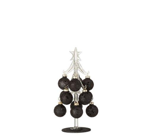 J -Line Decoratie Boom Glas Kerstballen Zwart - Small