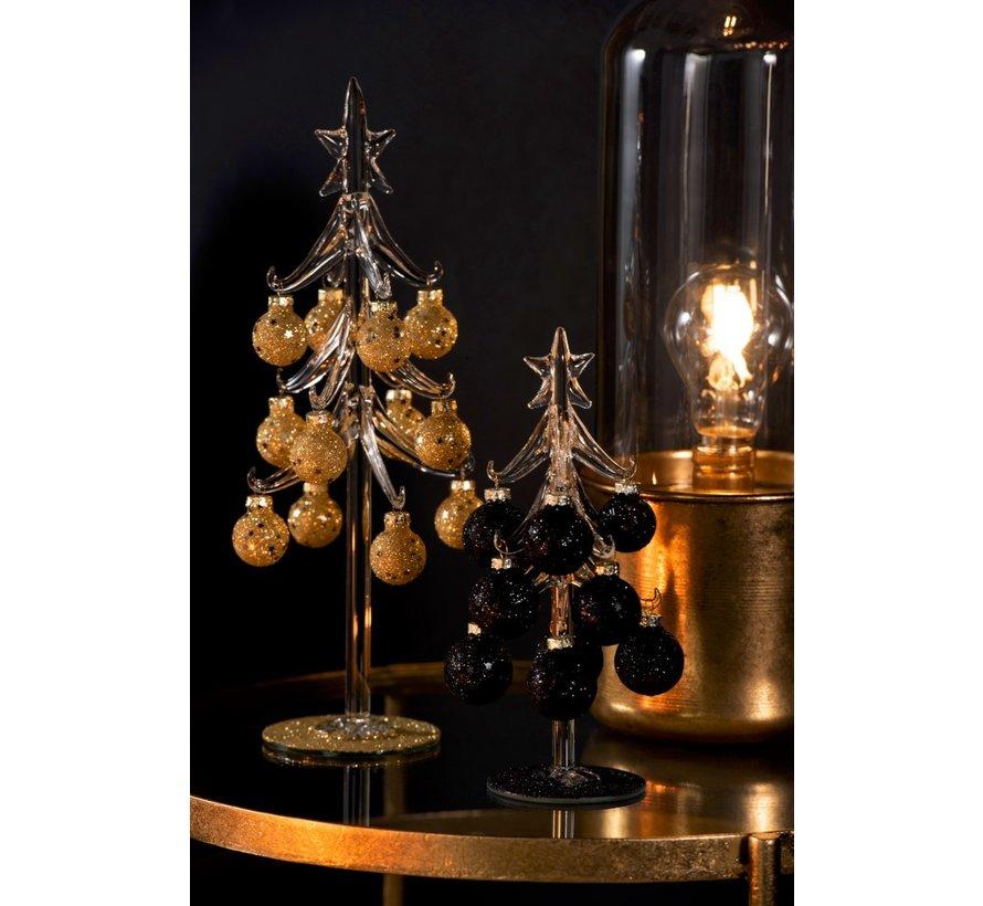 Decoratie Boom Glas Kerstballen Zwart - Small