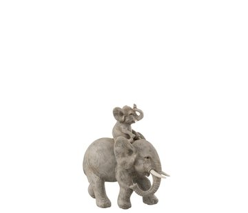 J -Line Decoration Elephant Mother and Child - Gray
