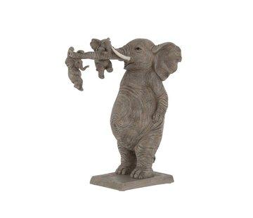 J-Line Decoratie Olifant Vader Spelende kinderen - Grijs