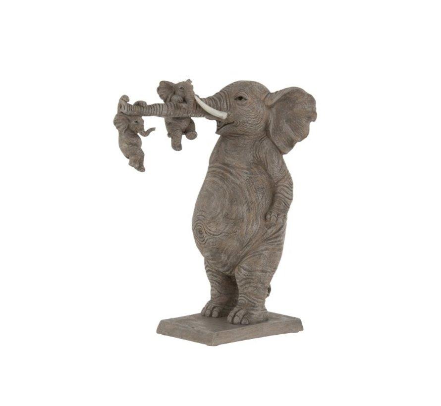 Decoratie Olifant Vader Spelende kinderen - Grijs