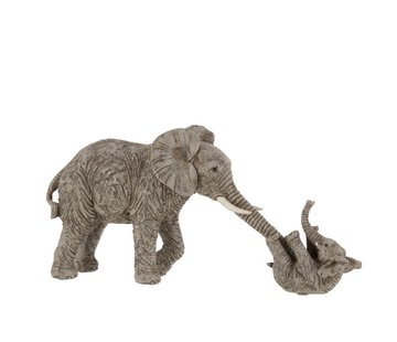 J -Line Decoration Mother Elephant Playing With Child - Gray