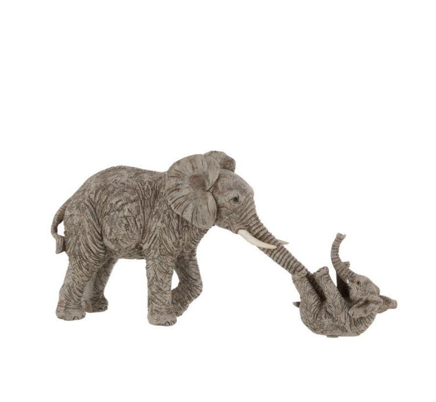 Decoration Mother Elephant Playing With Child - Gray