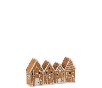 J -Line Decoration Gingerbread Houses Led Lighting - Brown