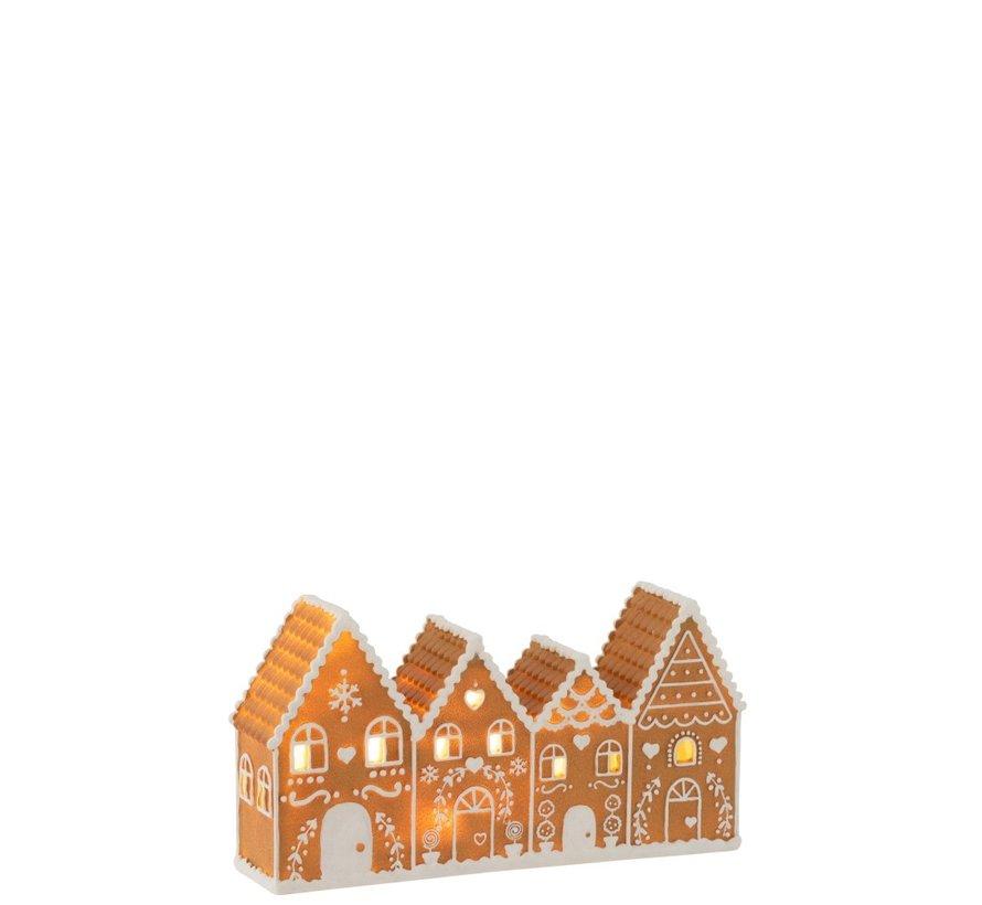 Decoratie Peperkoekenhuisjes Led Verlichting - Bruin