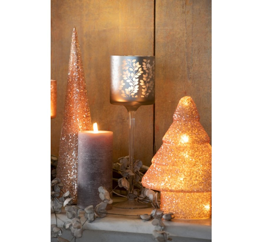 Decoratie Kerstkegel Glas Parels Roze - Large