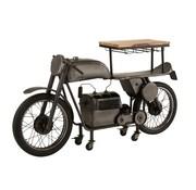 J -Line Bar Motorcycle Mancave Mango Wood Metal - Dark Gray