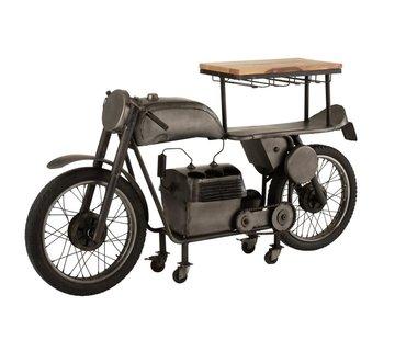 J -Line Bar Motorfiets Mancave Mango Hout Metaal - Donkergrijs
