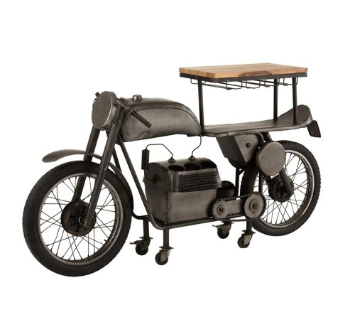 J-Line  Bar Motorcycle Mancave Mango Wood Metal - Dark Gray