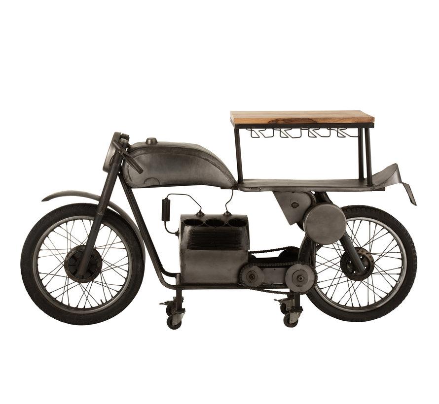 Bar Motorcycle Mancave Mango Wood Metal - Dark Gray