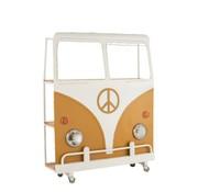 J-Line  Bar Bus On Wheels Metal Mango Wood White - Ocher