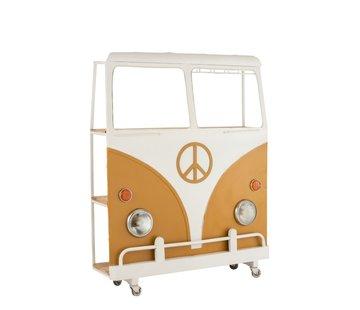 J-Line  Bar Bus Op Wielen Metaal Mango Hout Wit - Oker