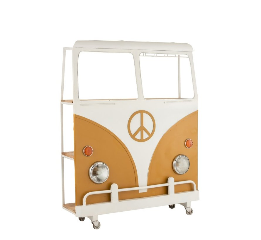 Bar Bus On Wheels Metal Mango Wood White - Ocher