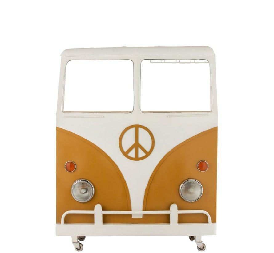 Bar Bus Op Wielen Metaal Mango Hout Wit - Oker