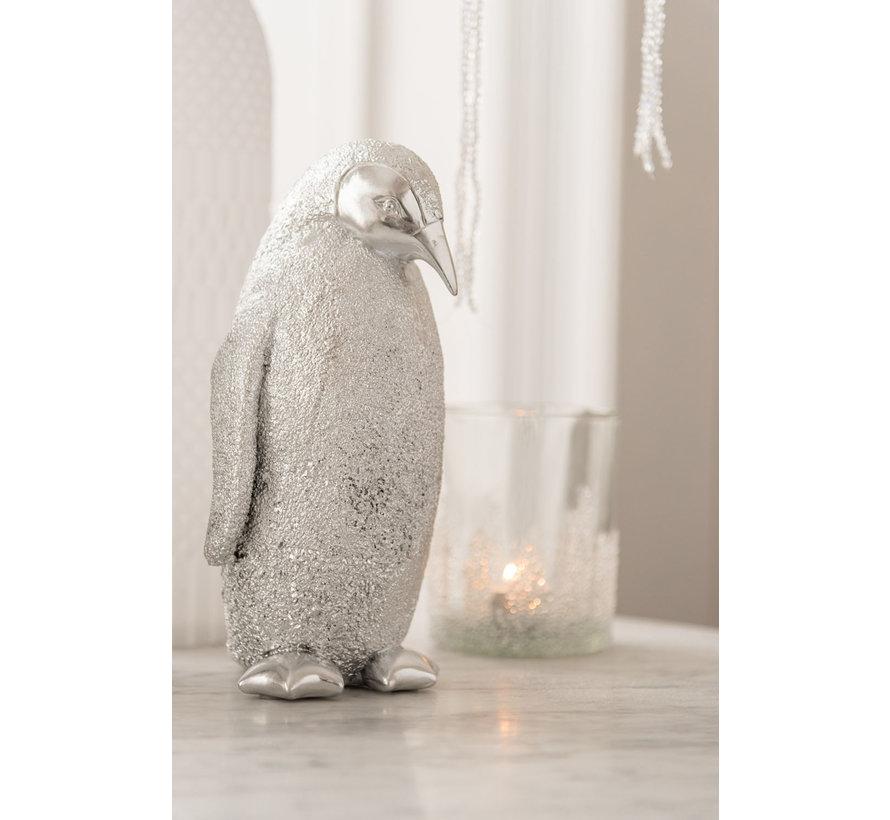 Decoratie Kerst Pinguïn Poly Zilver - Medium