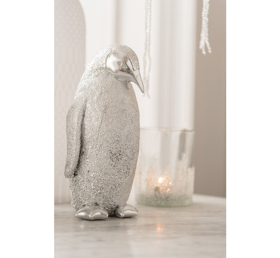 Decoration Christmas Penguin Poly Silver - Medium