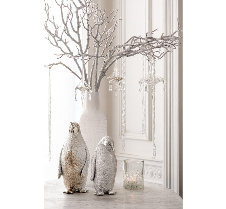 Decoratie Kerst Pinguïn Poly Zilver - Large