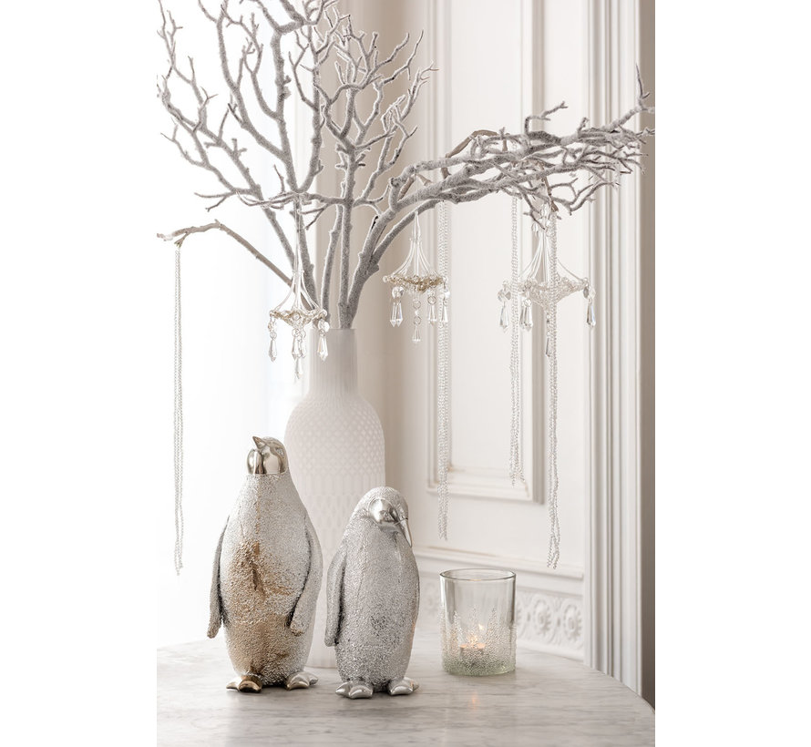 Decoration Christmas Penguin Poly Silver - Large