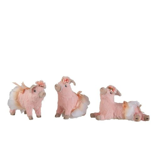 J -Line Decoration Pigs Sitting Standing Lying Mix - Pink
