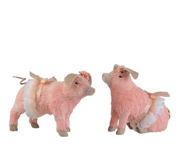J -Line Decoration Pigs Sitting Standing Mix Pink - Medium