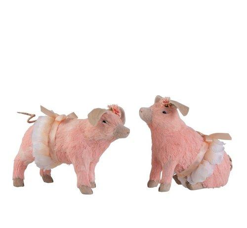 J-Line Decoration Pigs Sitting Standing Mix Pink - Medium