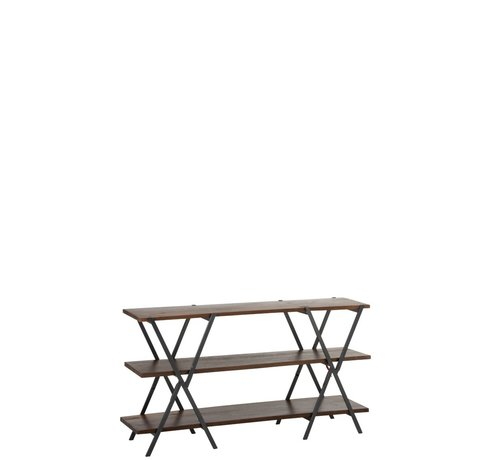 J -Line Console table Three Shelves Recycled Wood - Brown