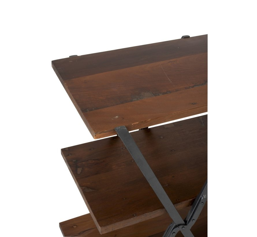 Console table Three Shelves Recycled Wood - Brown