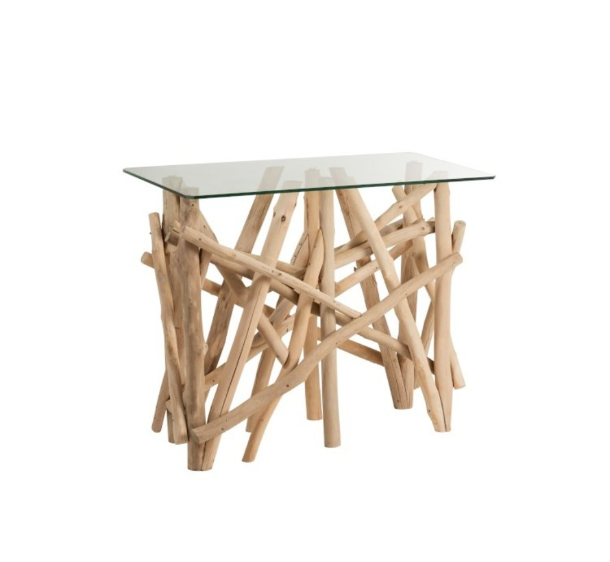 Console Table Rural Glass Branches - Brown