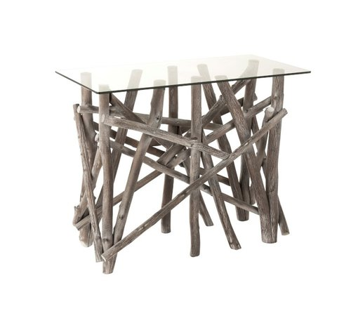 J-Line Console Table Rural Glass Branches - Gray Wash