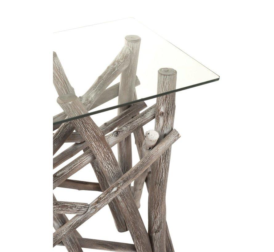 Consoletafel Landelijk Glas Takken - Grey Wash