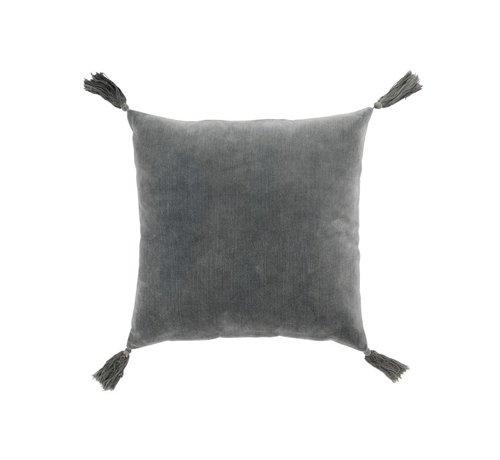 J -Line Cushion Square Cotton Tassels - Dark Gray